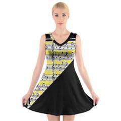Note Abstract Paintwork V Neck Sleeveless Skater Dress