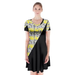 Note Abstract Paintwork Short Sleeve V Neck Flare Dress