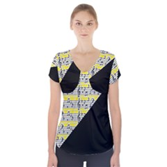 Note Abstract Paintwork Short Sleeve Front Detail Top
