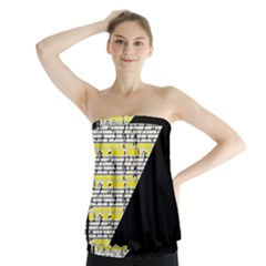 Note Abstract Paintwork Strapless Top