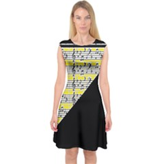 Note Abstract Paintwork Capsleeve Midi Dress