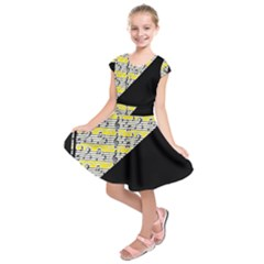 Note Abstract Paintwork Kids  Short Sleeve Dress