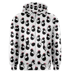 Cat Seamless Animals Pattern Men s Zipper Hoodie