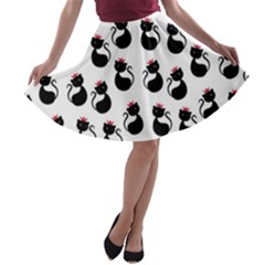 Cat Seamless Animals Pattern A Line Skater Skirt
