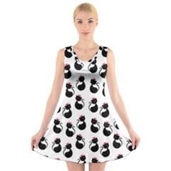 Cat Seamless Animals Pattern V Neck Sleeveless Skater Dress