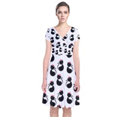 Cat Seamless Animals Pattern Short Sleeve Front Wrap Dress