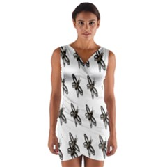Insect Animals Pattern Wrap Front Bodycon Dress