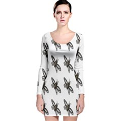 Insect Animals Pattern Long Sleeve Velvet Bodycon Dress