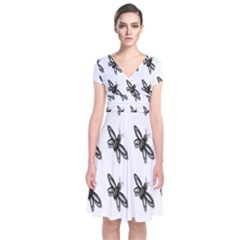 Insect Animals Pattern Short Sleeve Front Wrap Dress