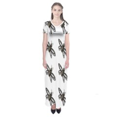 Insect Animals Pattern Short Sleeve Maxi Dress
