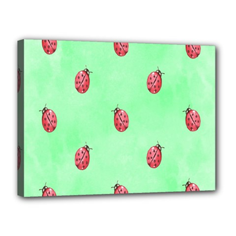 Pretty Background With A Ladybird Image Canvas 16  x 12