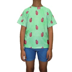 Pretty Background With A Ladybird Image Kids  Short Sleeve Swimwear