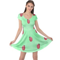Pretty Background With A Ladybird Image Cap Sleeve Dresses