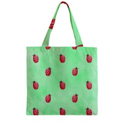 Pretty Background With A Ladybird Image Zipper Grocery Tote Bag