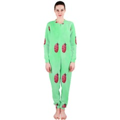 Pretty Background With A Ladybird Image OnePiece Jumpsuit (Ladies)