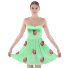 Pretty Background With A Ladybird Image Strapless Bra Top Dress