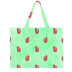 Pretty Background With A Ladybird Image Zipper Large Tote Bag