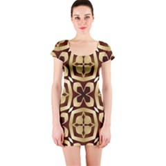 Abstract Seamless Background Pattern Short Sleeve Bodycon Dress