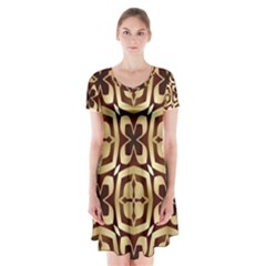 Abstract Seamless Background Pattern Short Sleeve V-neck Flare Dress