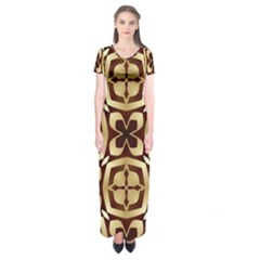 Abstract Seamless Background Pattern Short Sleeve Maxi Dress