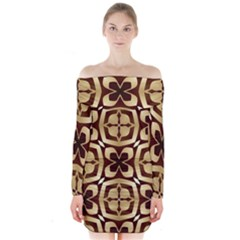 Abstract Seamless Background Pattern Long Sleeve Off Shoulder Dress