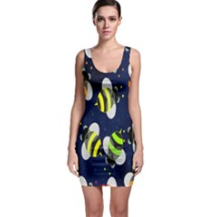 Bees Cartoon Bee Pattern Sleeveless Bodycon Dress