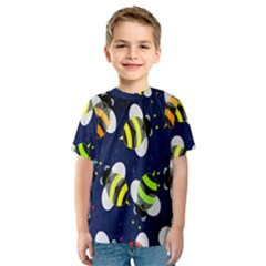 Bees Cartoon Bee Pattern Kids  Sport Mesh Tee