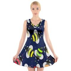 Bees Cartoon Bee Pattern V-Neck Sleeveless Skater Dress