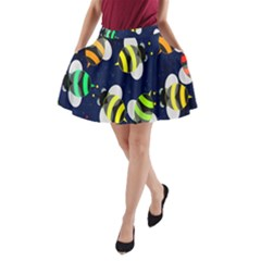 Bees Cartoon Bee Pattern A-Line Pocket Skirt