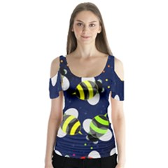 Bees Cartoon Bee Pattern Butterfly Sleeve Cutout Tee
