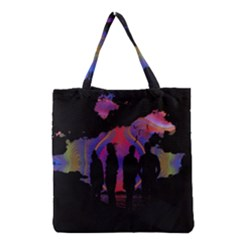 Abstract Surreal Sunset Grocery Tote Bag