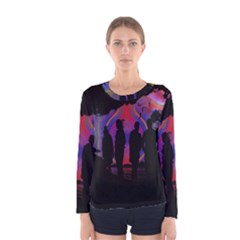 Abstract Surreal Sunset Women s Long Sleeve Tee
