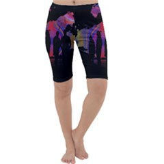 Abstract Surreal Sunset Cropped Leggings