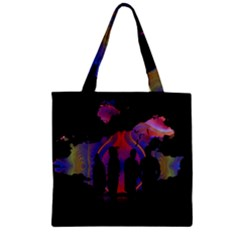 Abstract Surreal Sunset Zipper Grocery Tote Bag