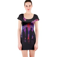 Abstract Surreal Sunset Short Sleeve Bodycon Dress