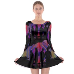 Abstract Surreal Sunset Long Sleeve Skater Dress