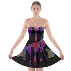 Abstract Surreal Sunset Strapless Bra Top Dress