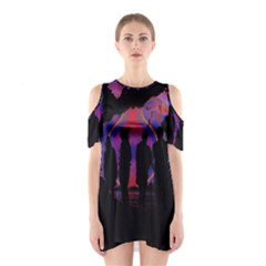 Abstract Surreal Sunset Shoulder Cutout One Piece