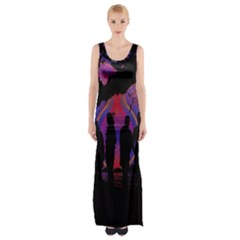 Abstract Surreal Sunset Maxi Thigh Split Dress