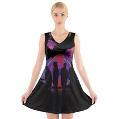 Abstract Surreal Sunset V Neck Sleeveless Skater Dress
