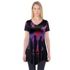 Abstract Surreal Sunset Short Sleeve Tunic