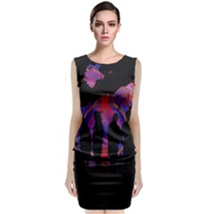 Abstract Surreal Sunset Classic Sleeveless Midi Dress