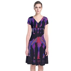 Abstract Surreal Sunset Short Sleeve Front Wrap Dress