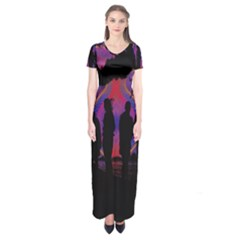 Abstract Surreal Sunset Short Sleeve Maxi Dress