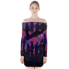 Abstract Surreal Sunset Long Sleeve Off Shoulder Dress