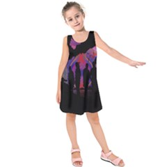 Abstract Surreal Sunset Kids  Sleeveless Dress