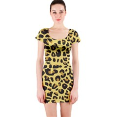 A Jaguar Fur Pattern Short Sleeve Bodycon Dress