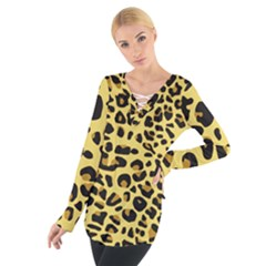 A Jaguar Fur Pattern Women s Tie Up Tee