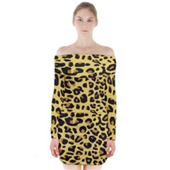 A Jaguar Fur Pattern Long Sleeve Off Shoulder Dress