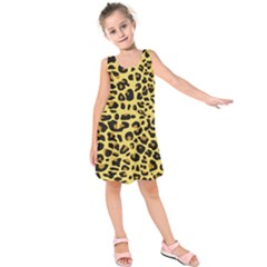A Jaguar Fur Pattern Kids  Sleeveless Dress